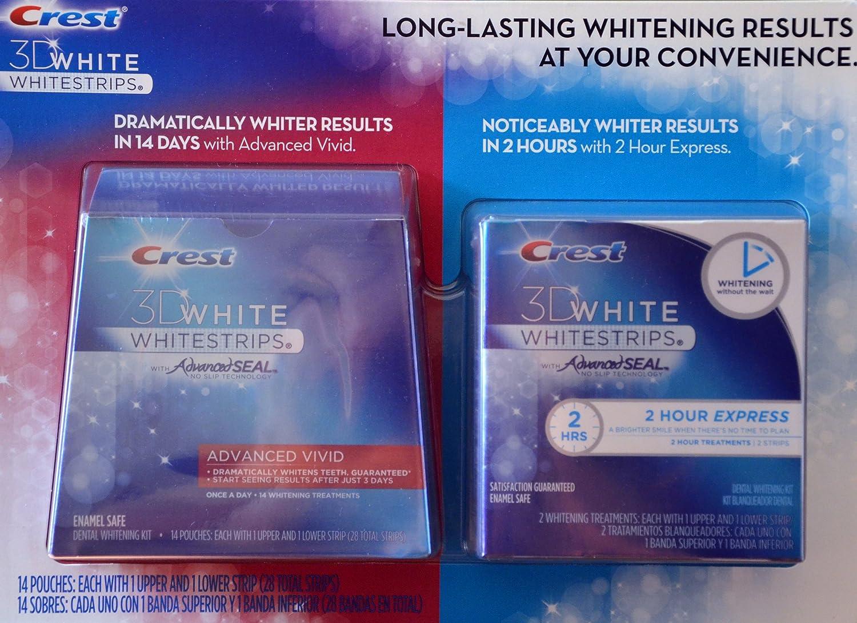 Crest 3D White Whitestrips w/ Advanced Seal Professional Dental Whitening Kit (28 STRIPS) & Crest 3D White 1-Hour Express Whitestrips Dental Whitening Kit (2 TREATMENTS) - Bundle 2PACK