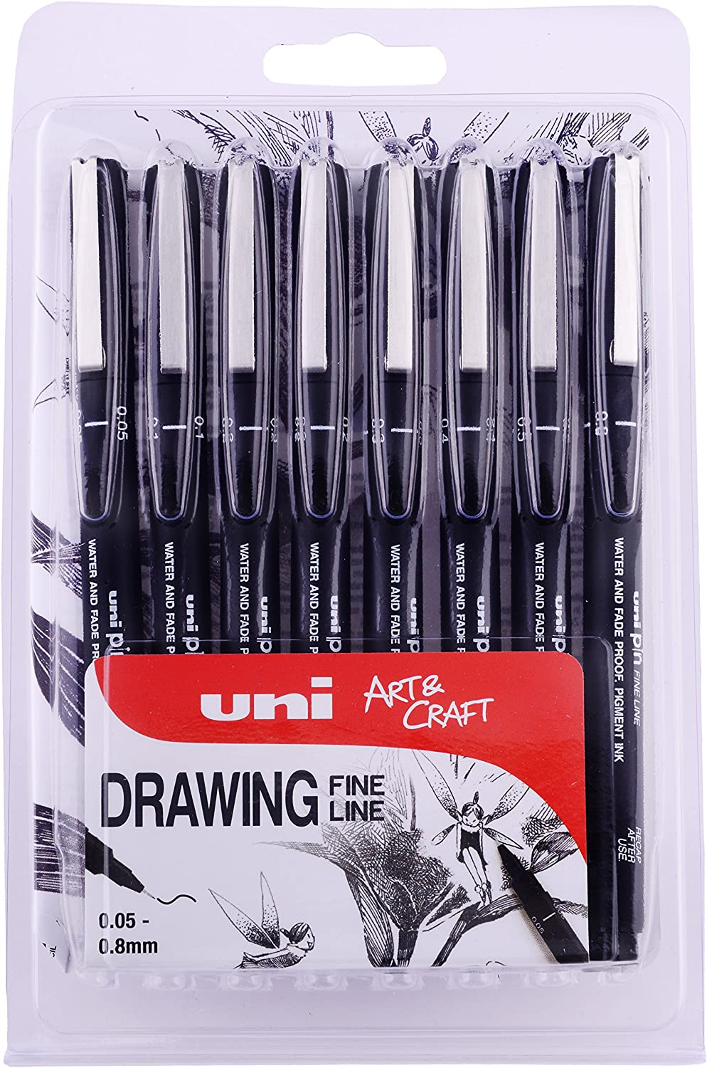 (8 markers, Black) - PIN 8pc Drawing Pen, Black Ink, 8 Pack Assorted Nib Sizes