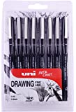 uni-ball 8 PIN-Zeichenstifte, schwarze Tinte, 8 ausgewählte Federgrößen