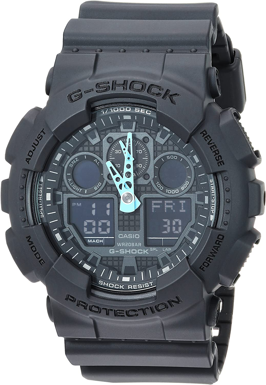 Casio G-Shock - Reloj analógico Digital para Hombre GA-100C-8ACR, Gris/Azul neón