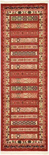 Unique Loom Fars Collection Tribal Modern Casual Rust Red Runner Rug 2 0 x 6 0