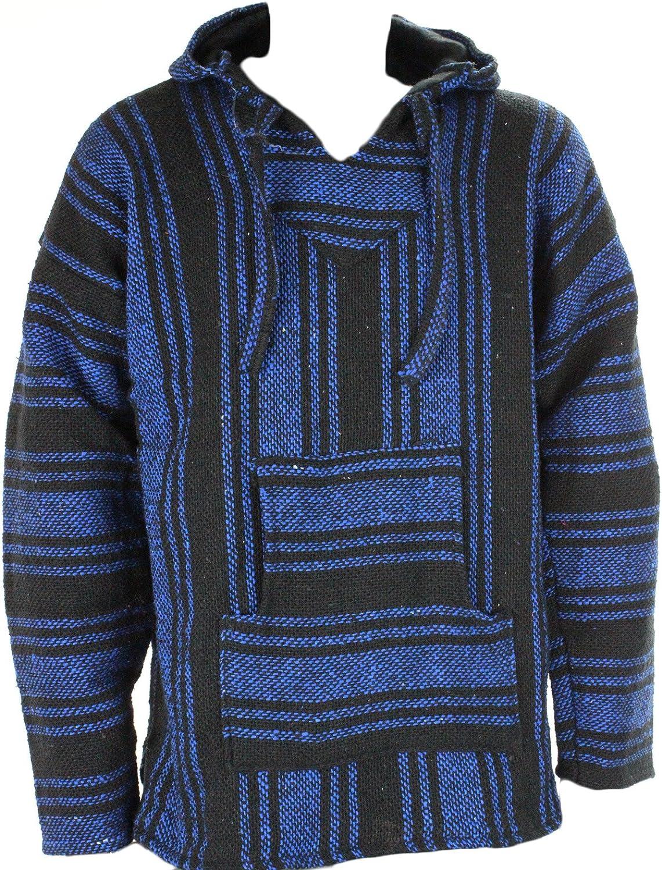 Sudadera con capucha estilo mexicano, diseño hippy, talla S, M, L, XL y XXL, color negro y azul