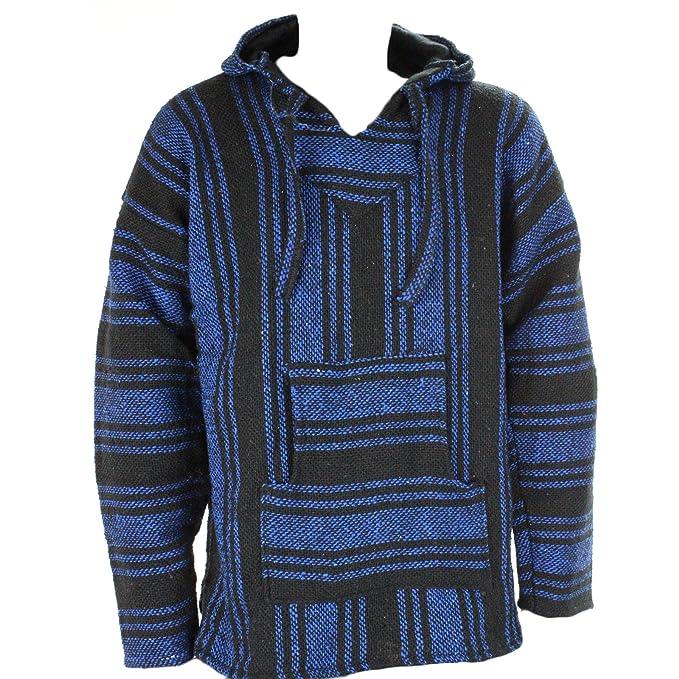 Sudadera con capucha estilo mexicano, diseño hippy, talla S, M, L, XL y XXL, color negro y azul: Amazon.es: Ropa y accesorios
