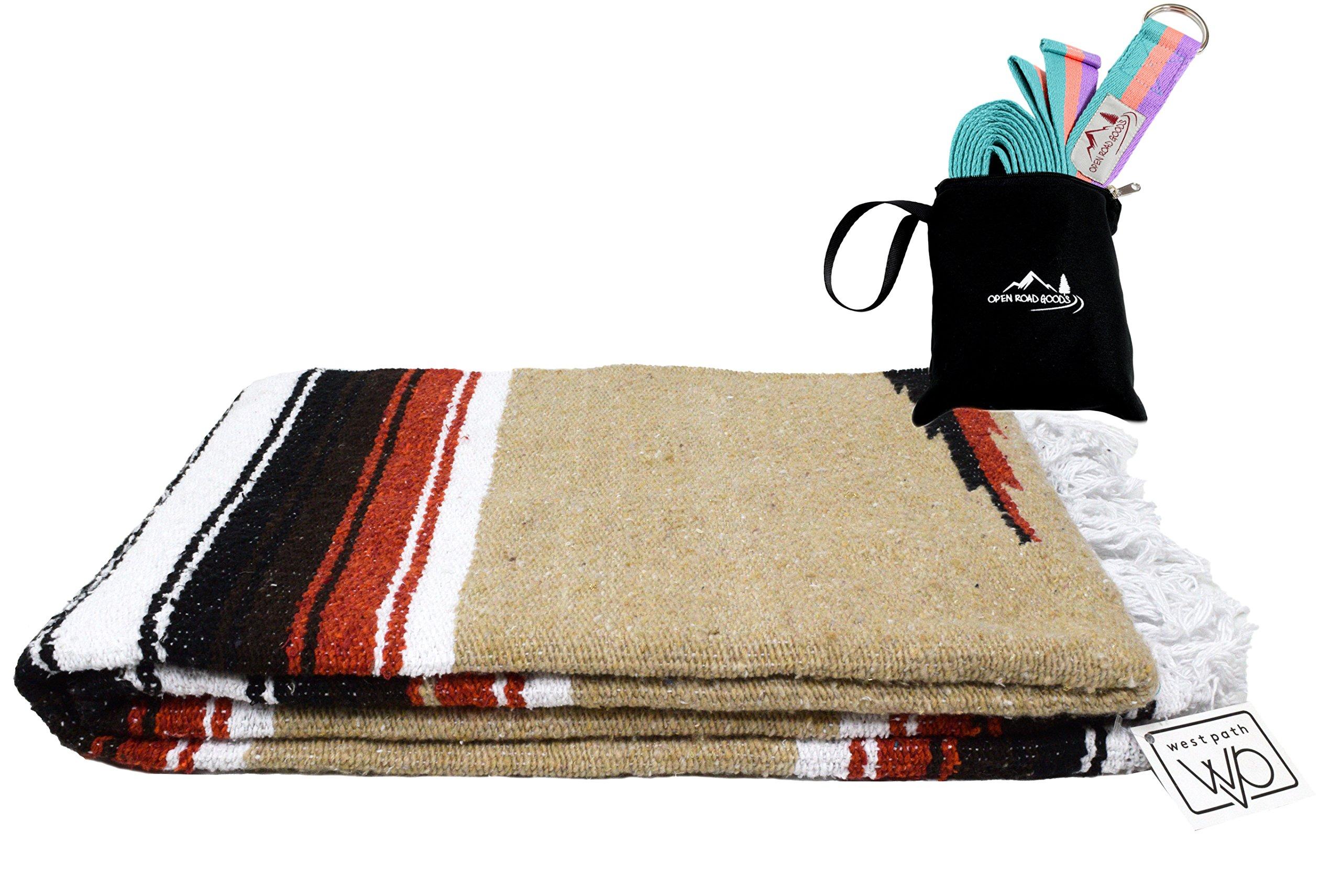 Tan/Khaki Mexican Yoga Blanket - Thick Navajo Diamond Serape with Orange & Brown Stripes - with Teal Coral Pastel Purple XL 8ft Yoga Strap