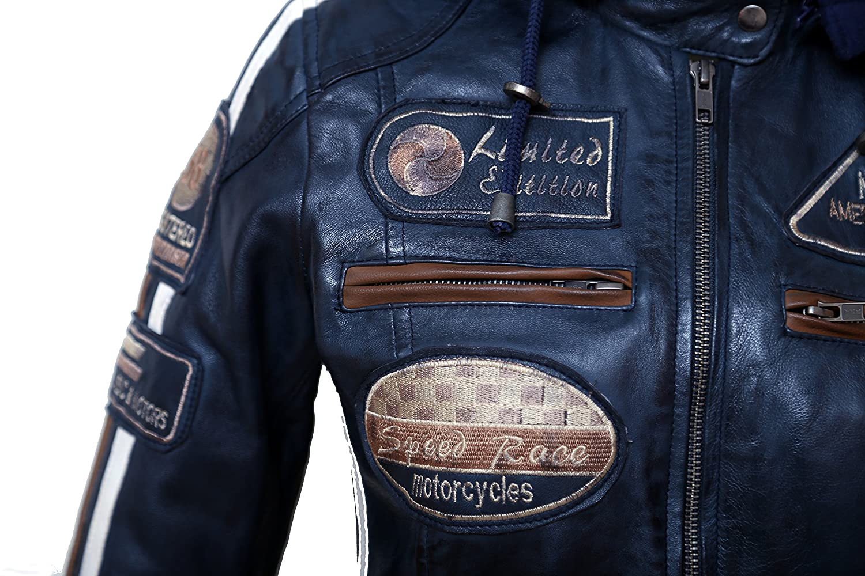 Gro/ße Damen Motorradjacke mit Protektoren Navy Blue L