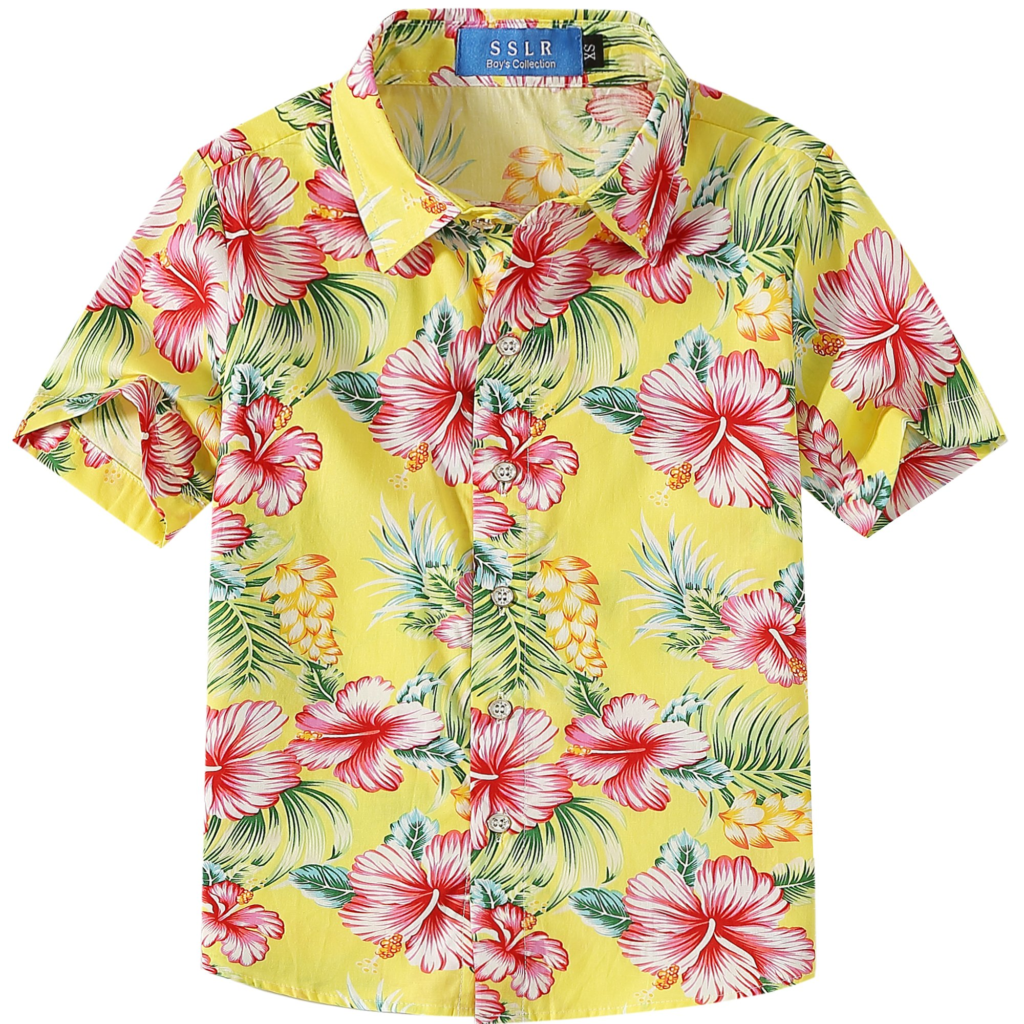 SSLR Big Boy's Hibiscus Cotton Short Sleeve Casual Button Down Hawaiian Shirt (X-Large(18-20), Bright Yellow) by SSLR (Image #1)