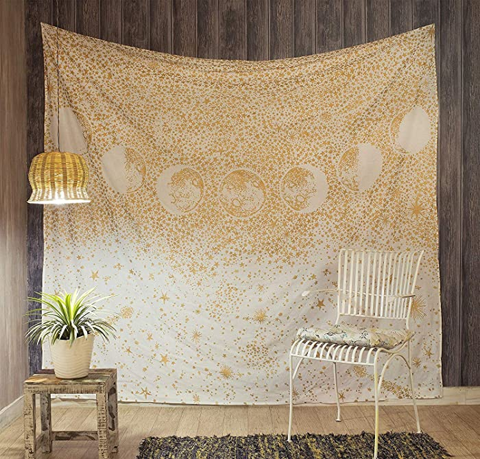 Popular Handicrafts Moon Eclipse Tapestry, Universe Galaxy Tapestry, Starry Night Sky Tapestry Wall Hanging for Living Room Bedroom Dorm Gold
