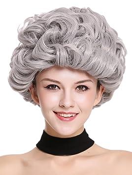 WIG ME UP ® - 91097-ZA68E Peluca señoras Mujer Carnaval Halloween Gris, Rizado