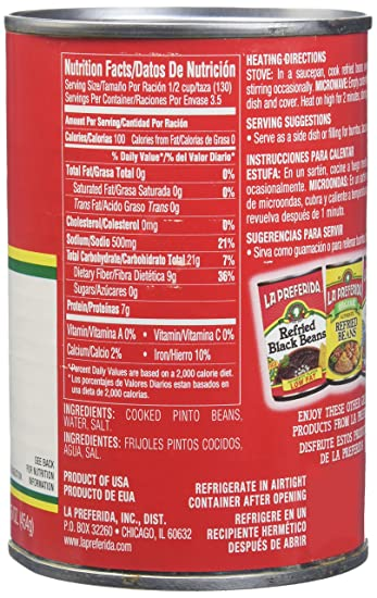 Amazon Com La Preferida Refried Beans Fat Free 16 Ounce Pack Of 12 Pinto Beans Produce Grocery Gourmet Food