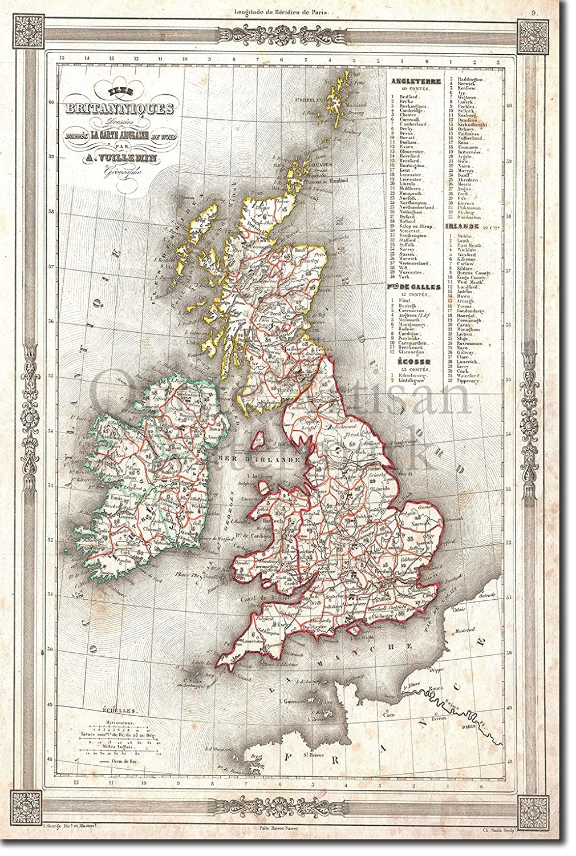 Map Of Uk For Printing.Amazon Com Introspective Chameleon Vintage Map Of United Kingdom