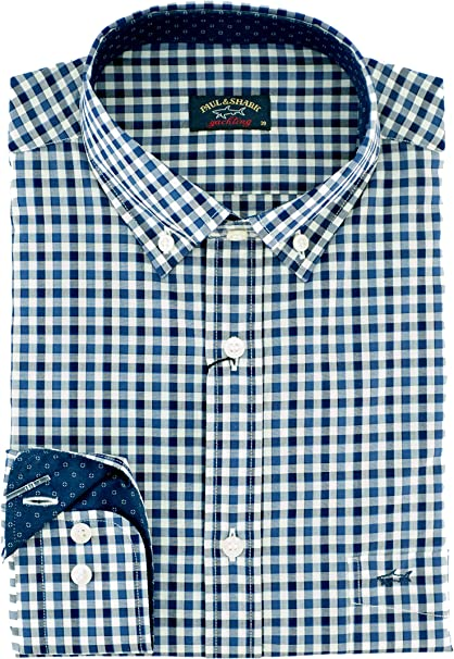 Paul & Shark Camisa regular Fit Blu A Quadri 37: Amazon.es: Ropa y accesorios