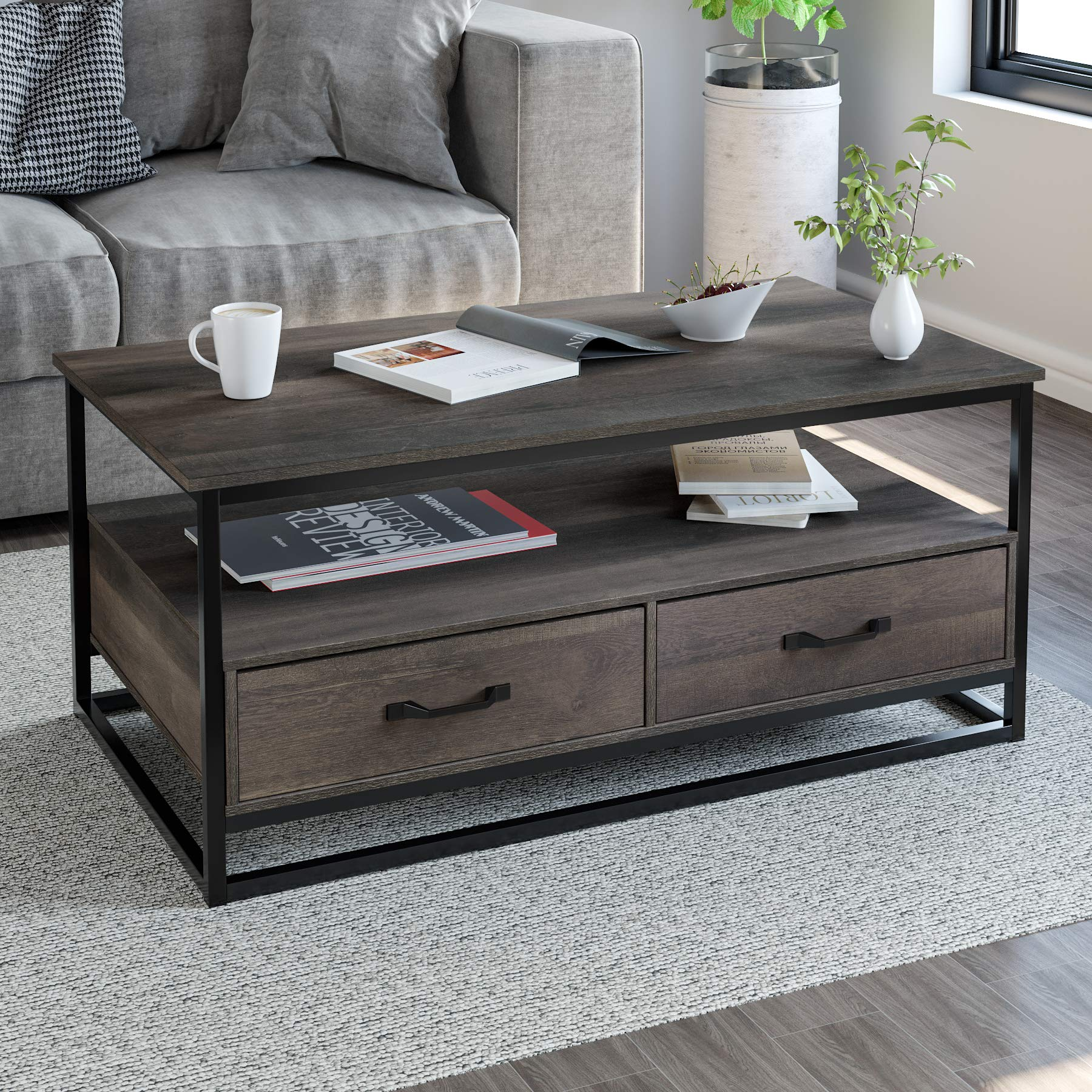 HOMECHO Mid Century Modern Coffee Table with 2 Drawers and Storage Shelf, 43.3'' x 23.6'', Industrial Accent Cocktail Table with Wood Top and Sturdy Metal Frame, for Living Room Home, Rustic Brown by HOMECHO