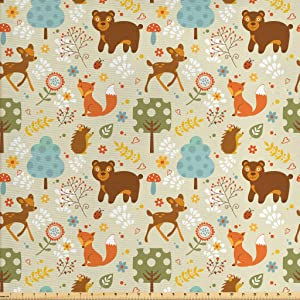 Lunarable Woodland Fabric by The Yard, Animals of The Woods in Pastel Colors Cheerful Bear Hedgehog Gazelle Fox Ladybug, Decorative Fabric for Upholstery and Home Accents, 1 Yard, Brown Beige