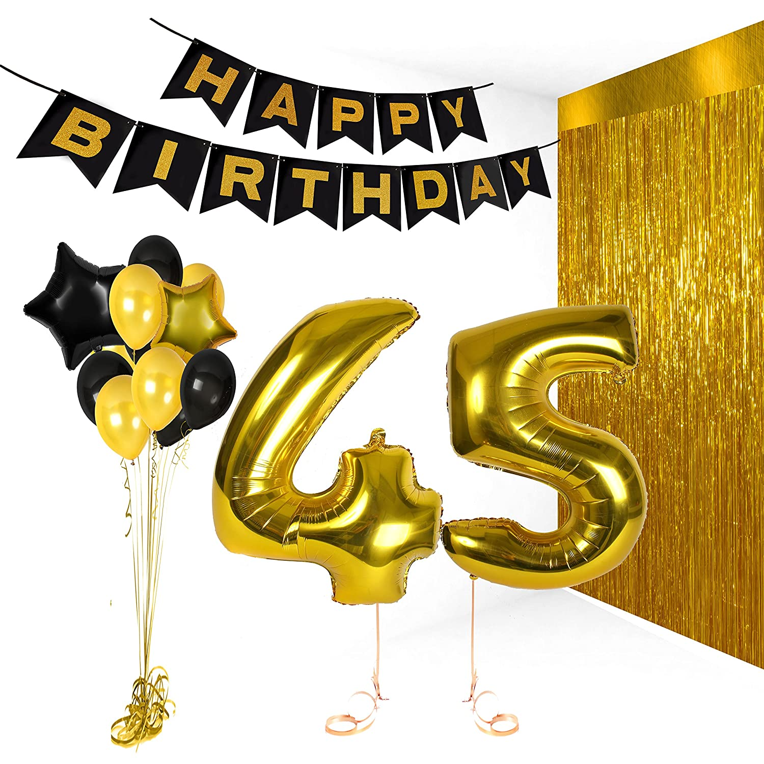 Amazon Treasures Gifted Happy Birthday 45th Party Decorations Gold Black Balloons Banner With Foil Fringe Curtain Supplies Kit Toys