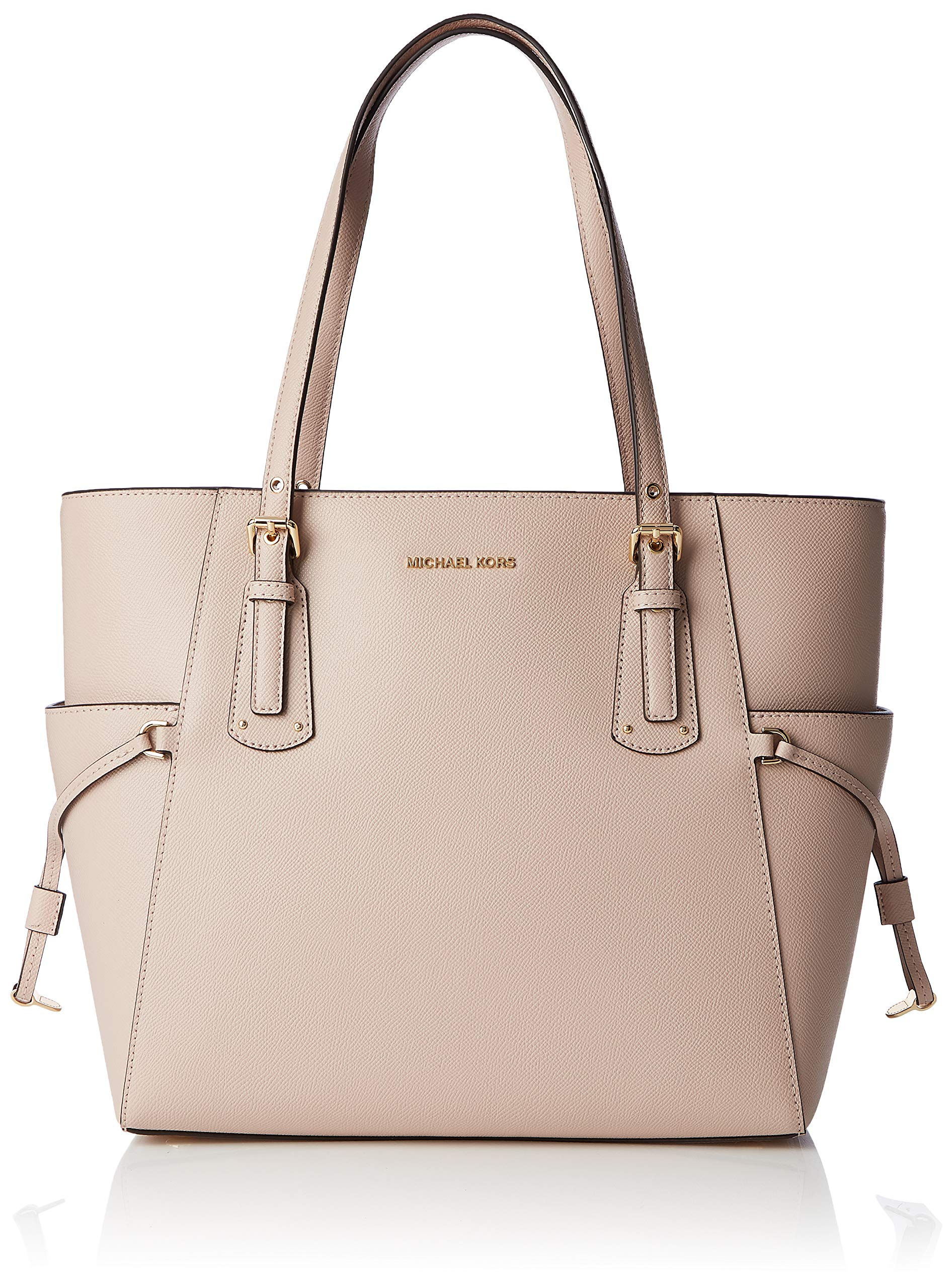 Michael Kors Voyager Textured Crossgrain Leather Tote- Soft Pink