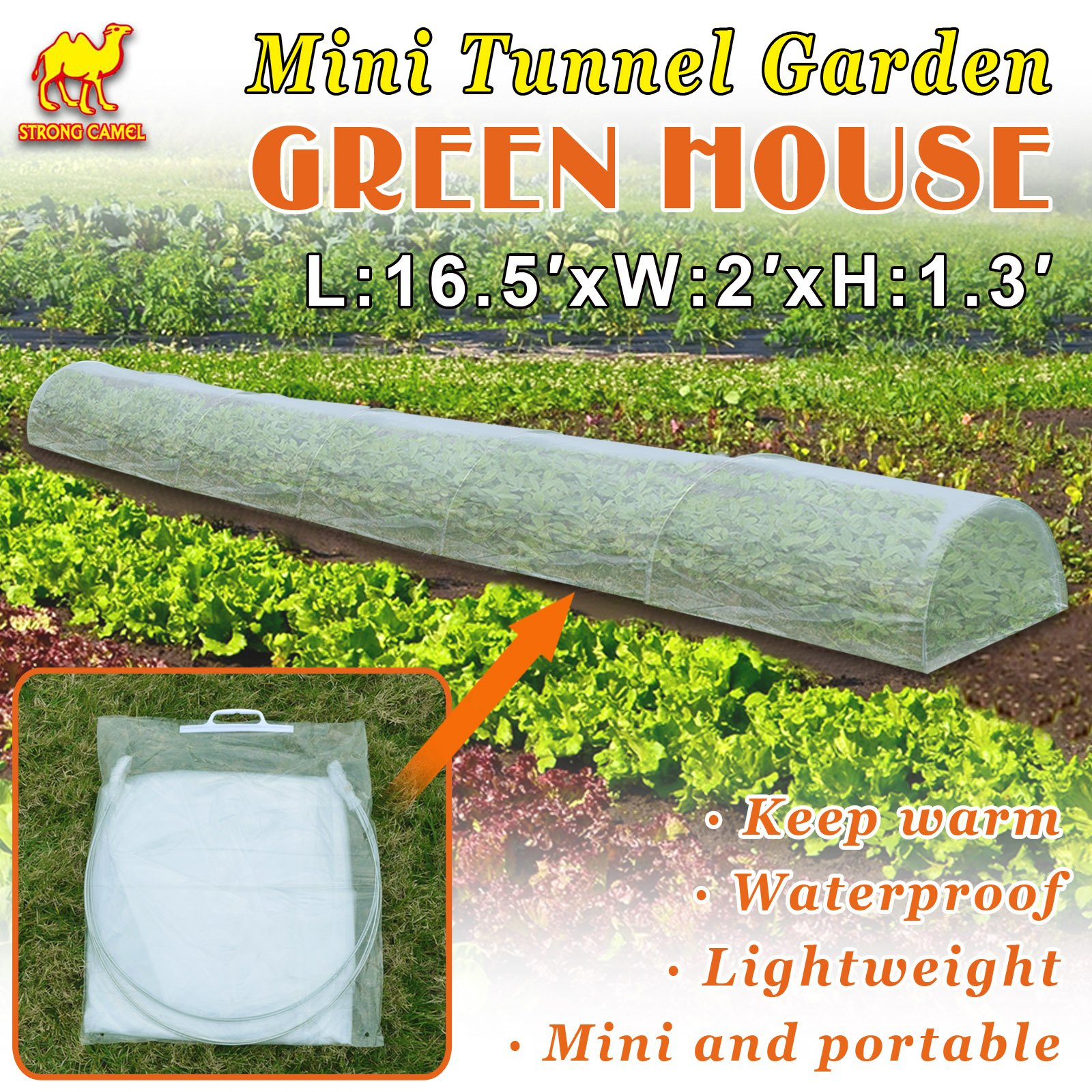 Strong Camel 16.5' x 2' x 1.3' Easy Poly Plant Grow Tunnel Greenhouse Garden