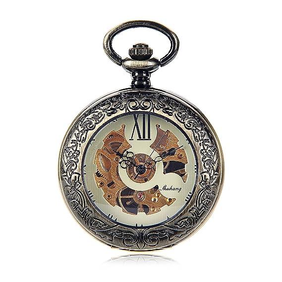 Perfect Classic Bronze Roman Numerals Skeleton Hand Wind Mechanical Pocket Watch  Antique Vintage Steampunk Watch