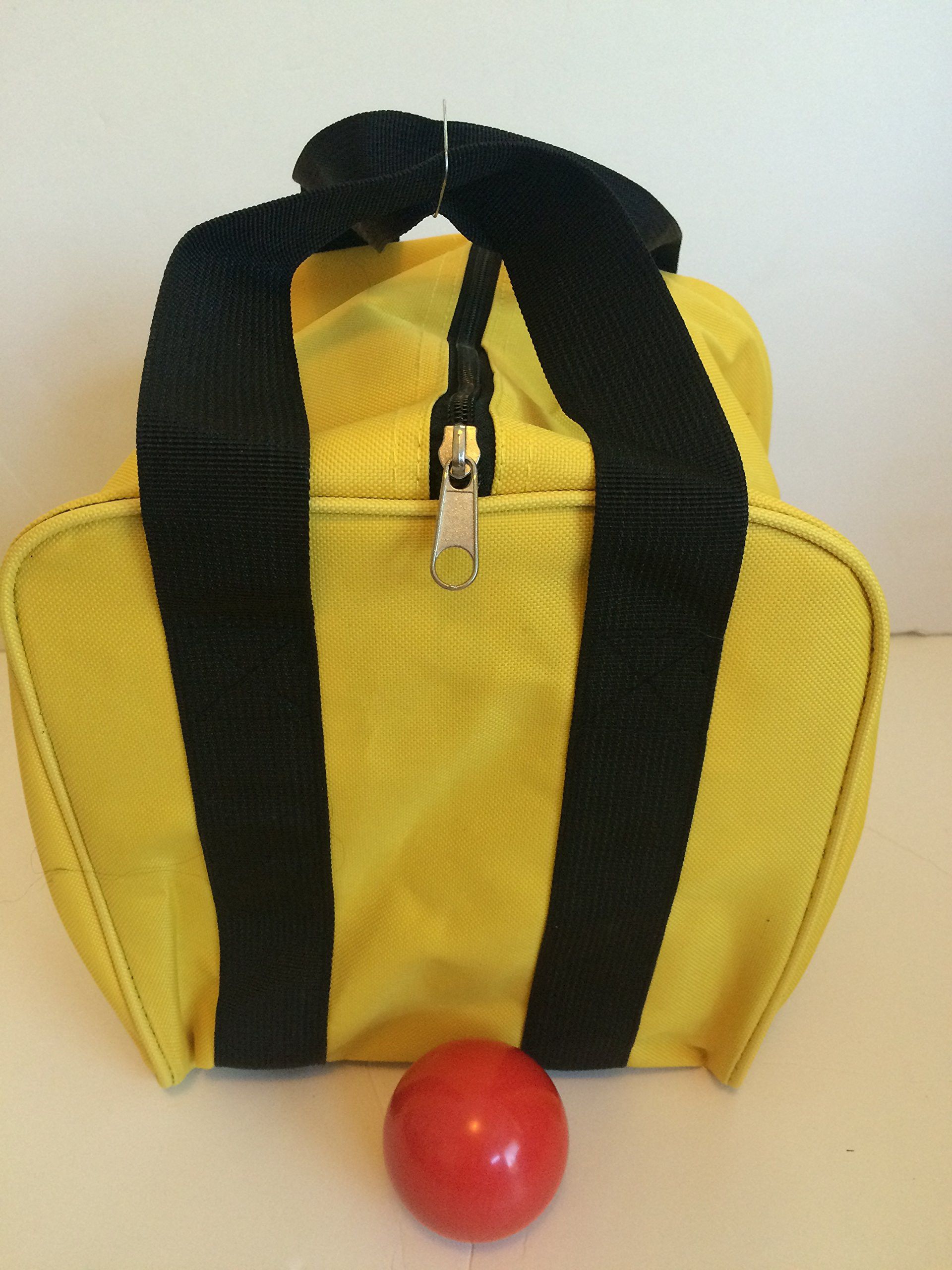 Unique Bocce Accessories Package - Extra Heavy Duty Nylon Bocce Bag (Yellow with Black Handles) and Red pallina