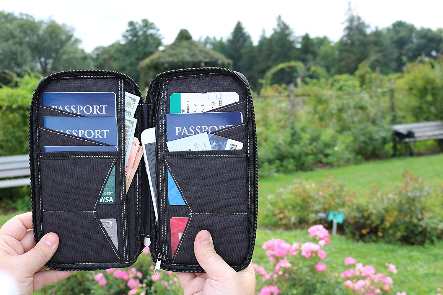 Perfect Document Holder for Family and Business Travel and 6 Passports Currency Cards VentureLite Family Passport Holder Premium Multi-Purpose Travel Wallets with Pockets for Phone