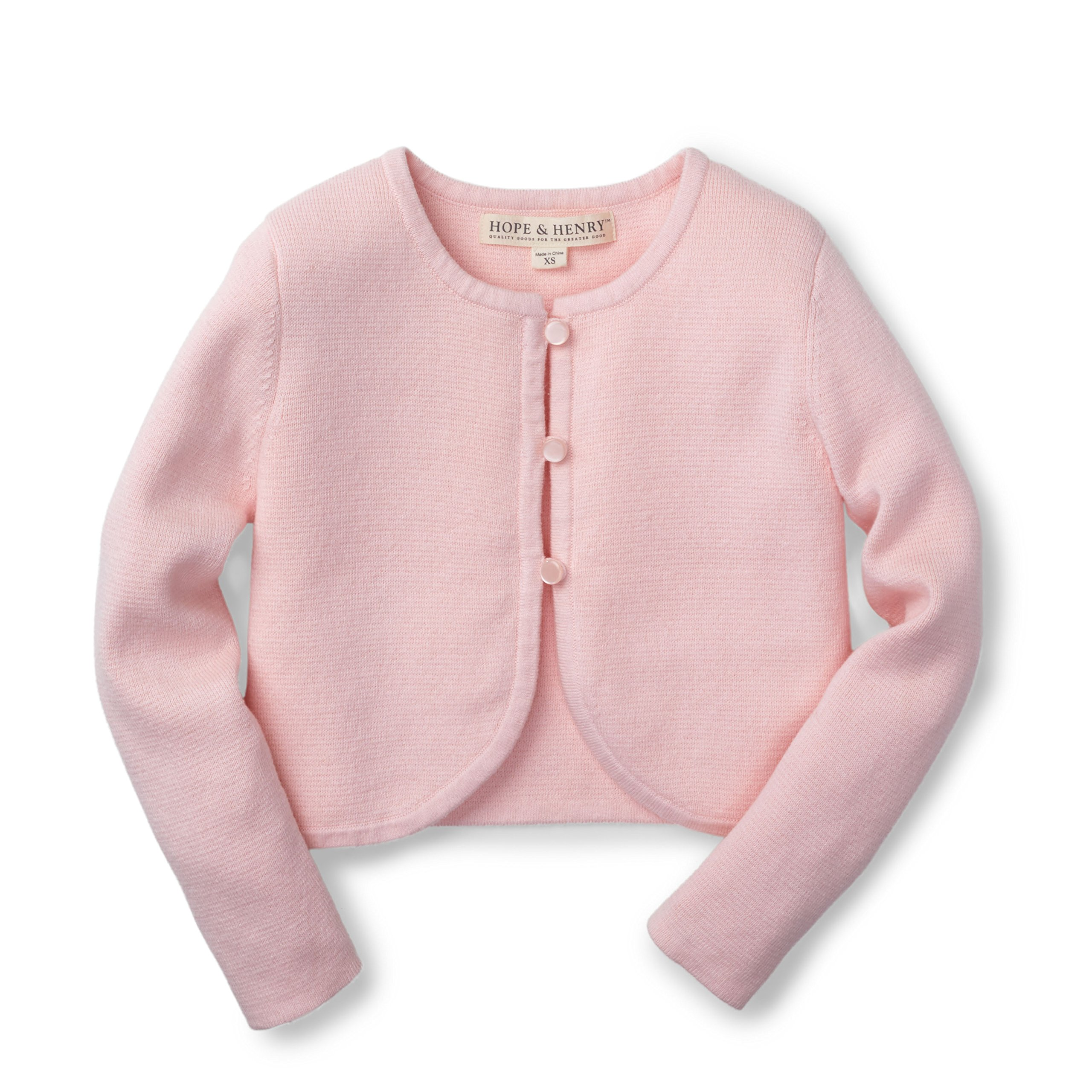 Hope & Henry Girls Rose Cropped Cardigan Made with Organic Cotton