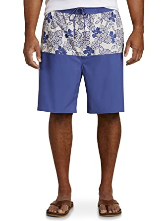 72932be7d6b59 Rochester by DXL Big and Tall Floral Colorblock Swim Trunks | Amazon.com