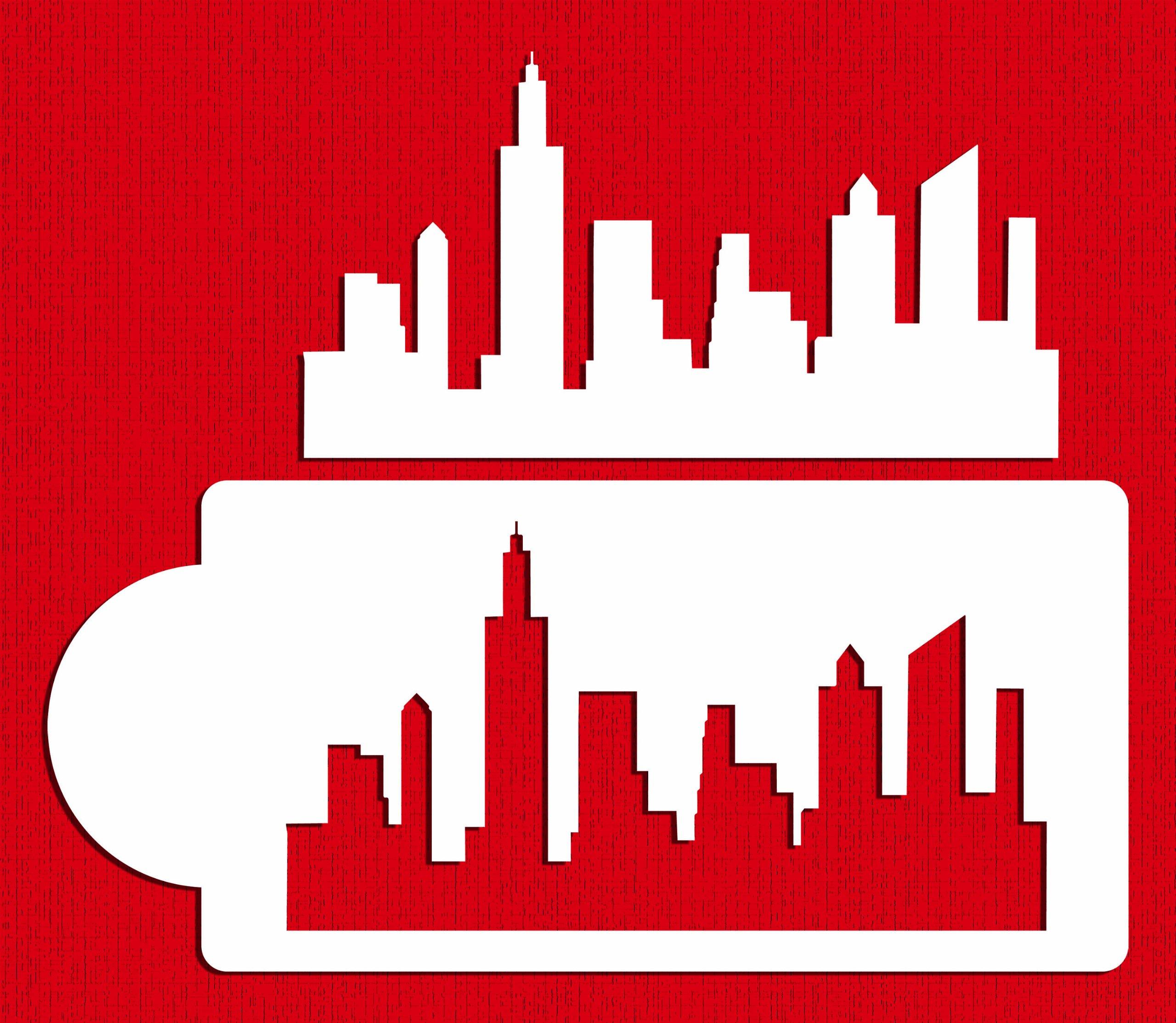 Designer Stencils C757 New York Skyline Cake Stencil and Template, Beige/Semi-Transparent by Designer Stencils