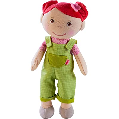 "HABA Snug Up Dorothea - 10"" Soft Doll with Fuzzy Red Hair, Embroidered Face and Removable Green Overalls (Machine Washable) for Ages 18 Months +: Toys & Games"