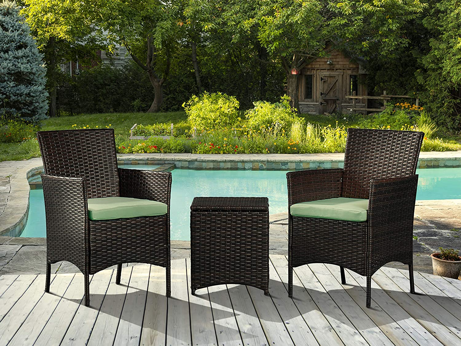 Charmant PONLCY HOME Patio Furniture Sets 3 Pieces Outdoor Bistro Set Rattan Chairs  Wicker Conversation Sets With Table Cushion Outdoor Garden Furniture  Sets,Brown