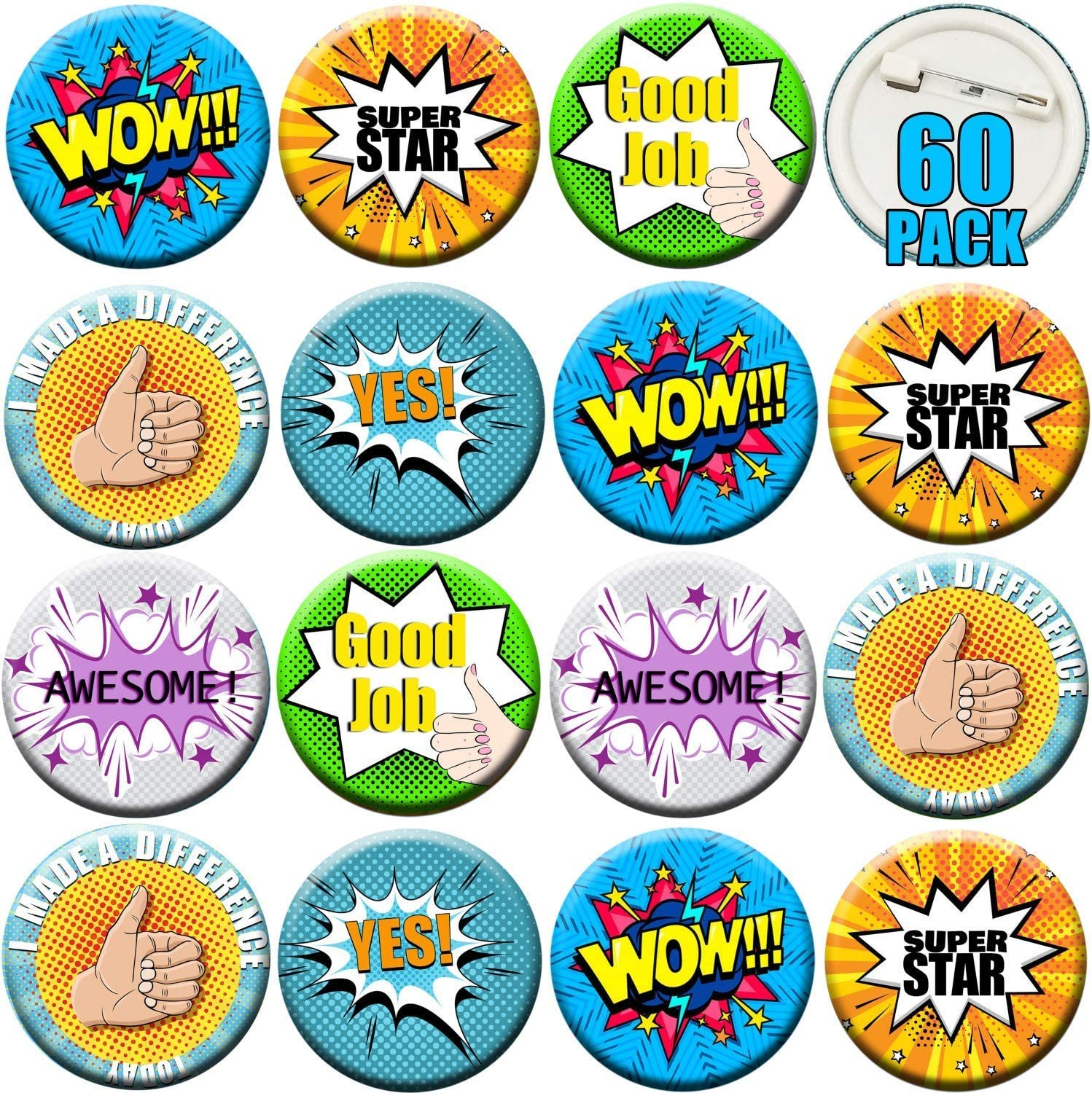 60PCS Reward Button Pins - Pinback Buttons Brooch Lapel Printed Positive Word, Recognition Button Round Pins as Incentive, Motivation Awards for Kids, Employees, Students, Co-Workers, 6 Style