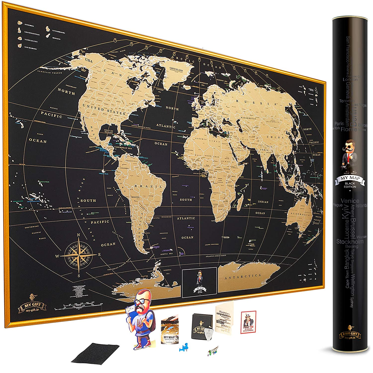 MyMap Gold Scratch Off World Map Wall Poster with US States