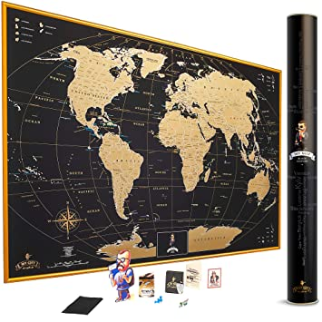 MyMap Gold Scratch Off World Map Wall Poster with US States, 35x25 inches,  Includes Pins, Buttons and Scratcher, Glossy Finish, Black with Vibrant ...