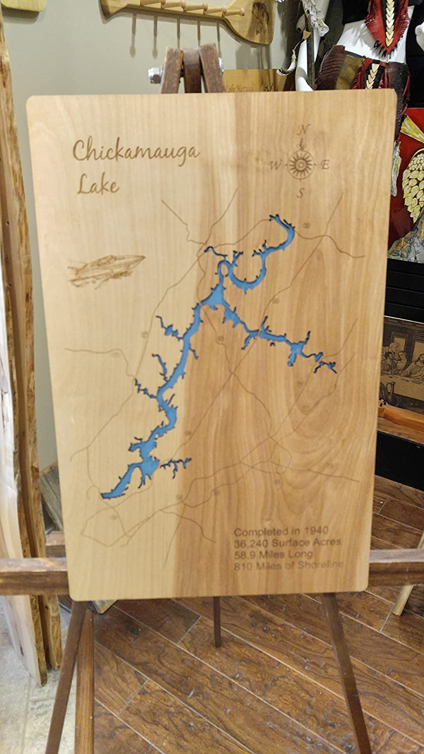 Amazon.com: Chickamauga Lake, Tennessee: Standout Wood Map Wall ...