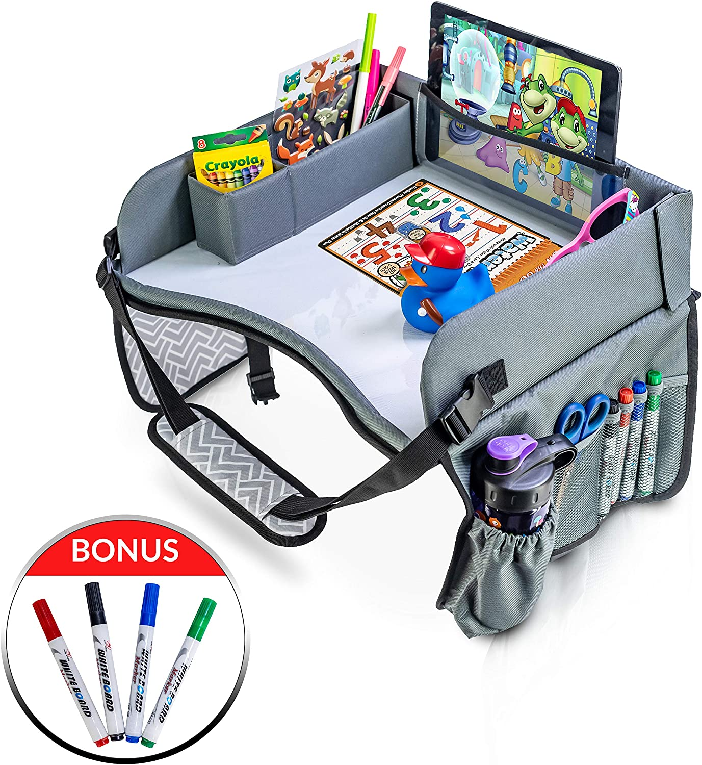 Snack Eating Tray Activity Storage Lap Desk for Kids Portable Car Seat Tray Dry Erase Tray with Markers iPad//Tablet Holder Foldable MyLapDesks Kids Travel Tray