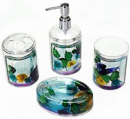 Locco Decor 4 Piece Acrylic Liquid 3D Floating Motion Bathroom Vanity  Accessory Set Flower
