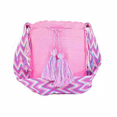 Wayuu - Bolso mochila de tamaño grande - hecho a mano en Colombia por los pueblos indígenas. Hecho con algodón de ganchillo.: Amazon.es: Joyería