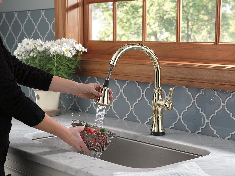 Delta Faucet 9197T-PN-DST Single Handle Pull-Down Kitchen Faucet ...