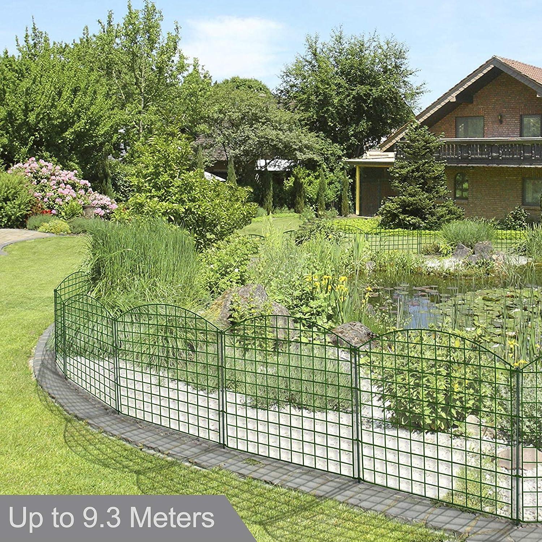 REAWOW Valla Jardín de Hierro - Set de 12 - Valla Decorativa Metalicas para Jardín o Estanque Garden Home 78.5CM X 77.5CM: Amazon.es: Jardín