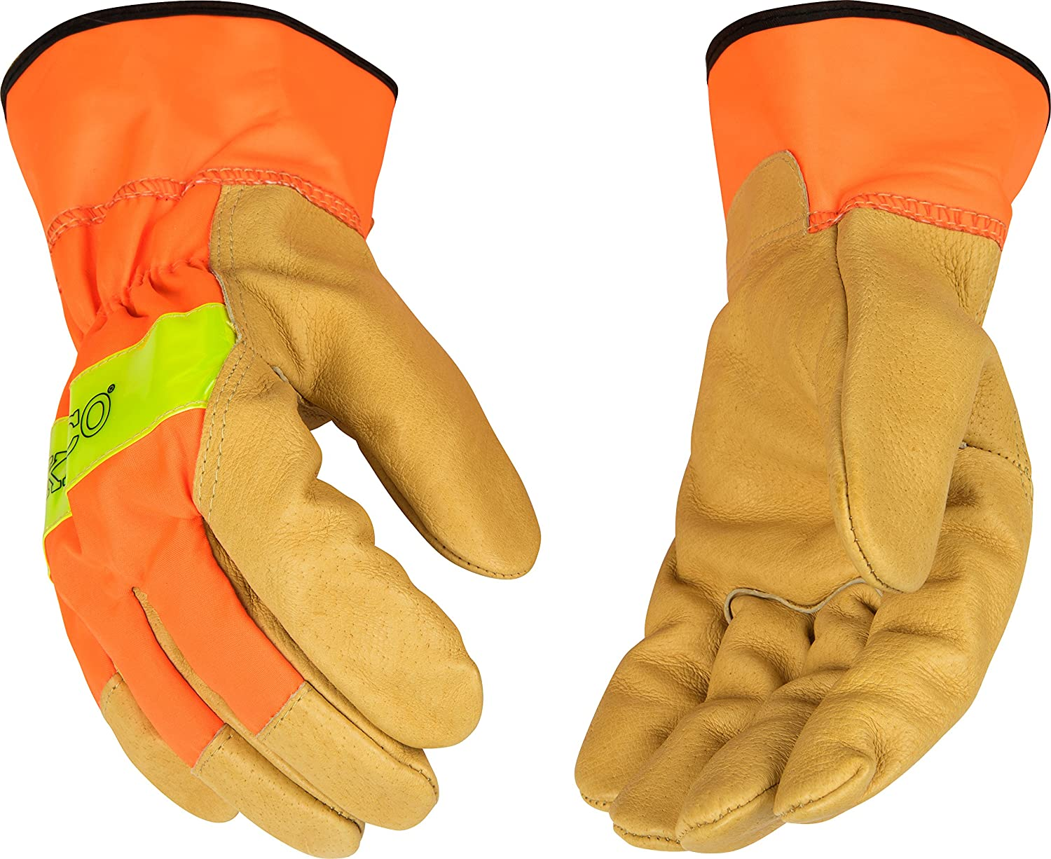 Kinco 1918 Unlined Grain Pigskin Leather High Visibility Glove with Orange Back, Work, Large, Palomino (Pack of 6 Pairs) by KINCO INTERNATIONAL B00AN7W4WC