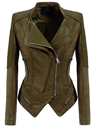 aa2c6909fc chouyatou Women's Fashion Faux Suede-Pu Leather Quilted Biker Jacket  (X-Small,