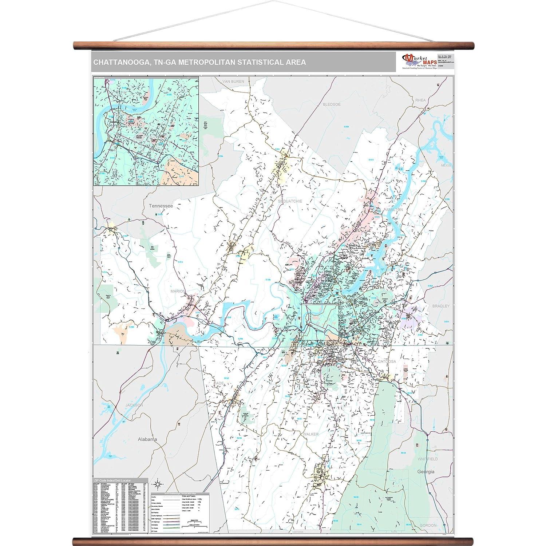 Jackson Tn Zip Code Map.Amazon Com Marketmaps Chattanooga Tn Metro Area Wall Map 2018