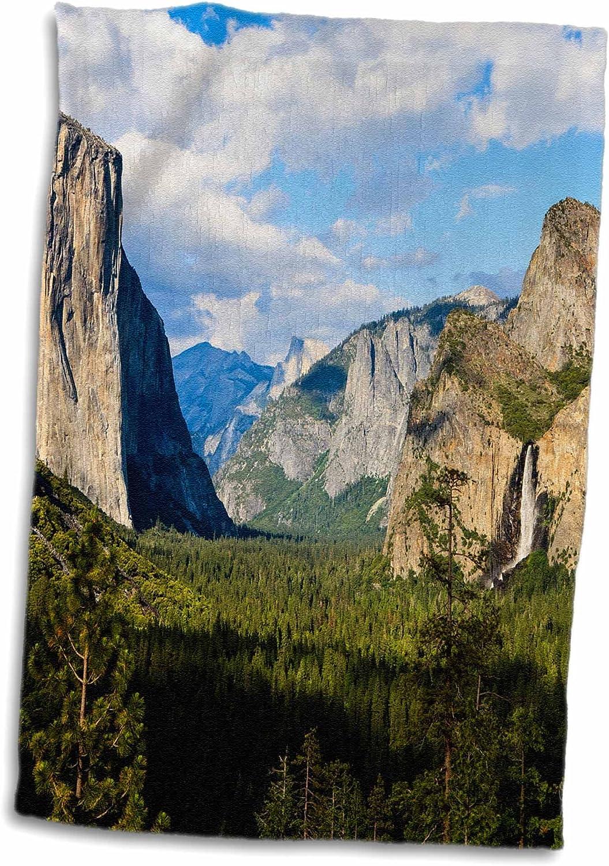 3D Rose El Capitan-Half Dome-Yosemite-California-Usa-Us05 Tno0006-Tom Norring Towel 15 x 22