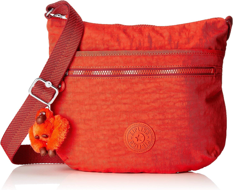 Kipling Arto, Bolso bandolera para Mujer, antracita, 29x26x4 cm Rojo (Active Red)