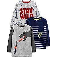 Simple Joys by Carter's 3-Pack Graphic Long-Sleeve Tees Niños, Pack de 3