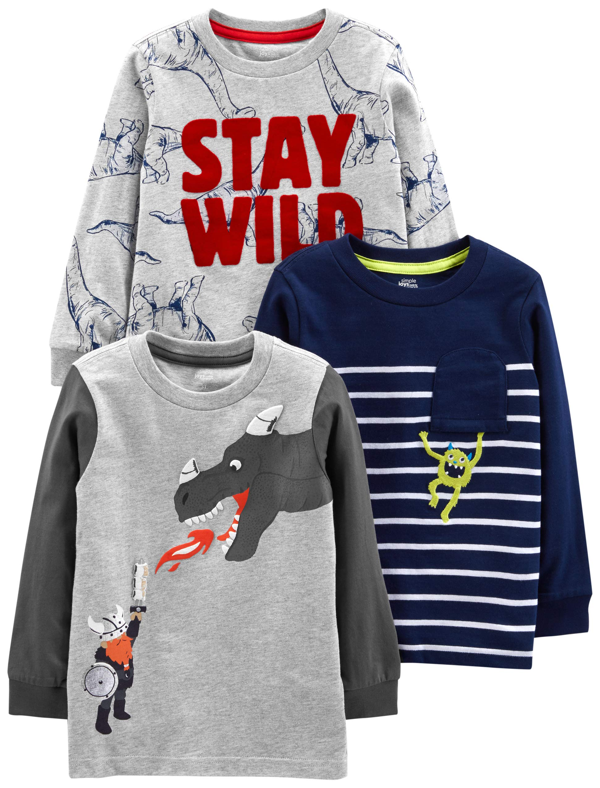 Simple Joys by Carter's Boys' Toddler 3-Pack Graphic Long-Sleeve Tees, Dino/Monster/Dragon, 2T