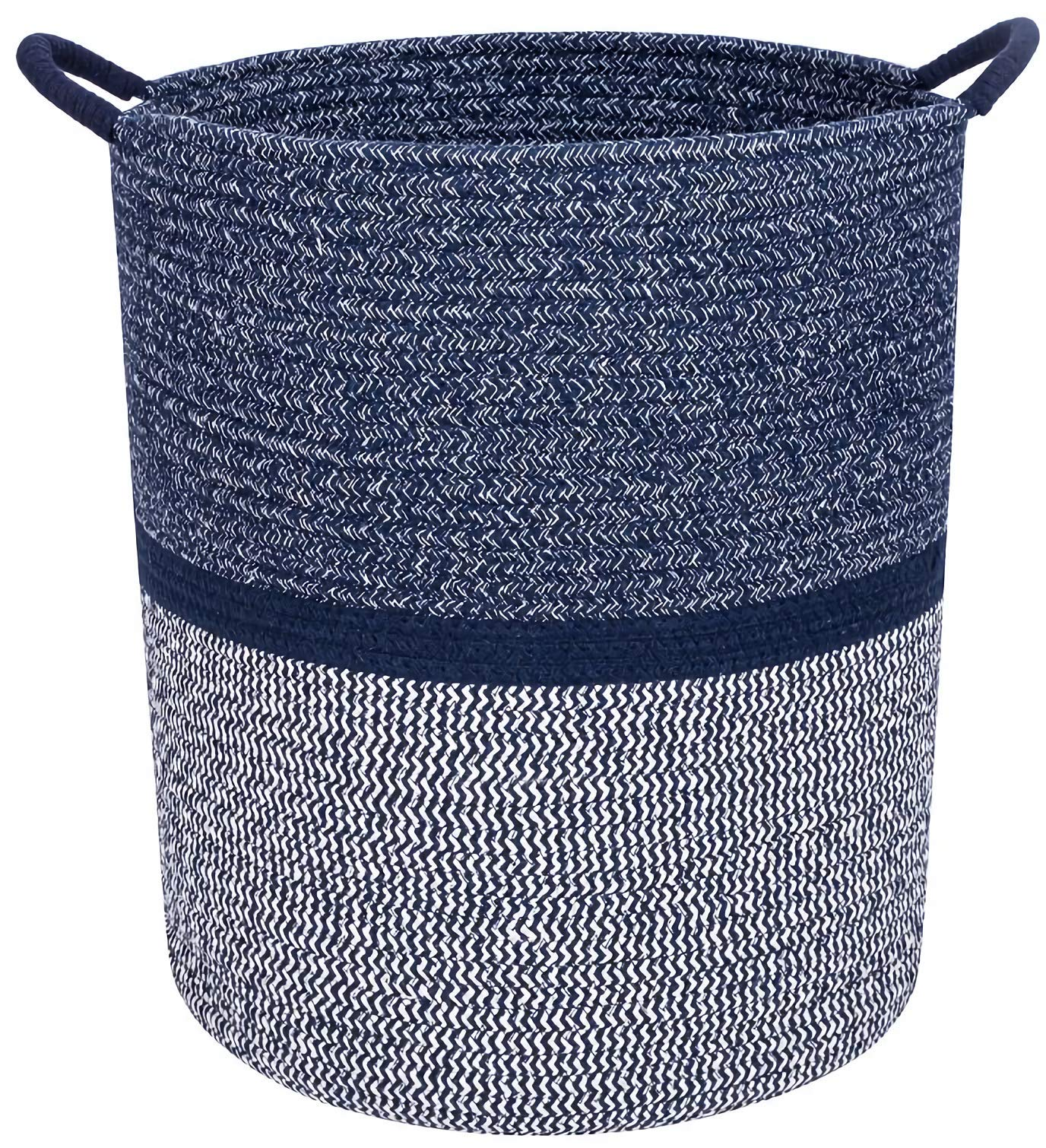 Celebraby - Premium Cotton Rope Basket for Laundry, Blanket, Towel, Nursery, Baby & Kids Toy Bin - Decorative Navy Blue & White Coiled Round Hamper with Handles - 16x13.5'' Thick Woven Storage Baskets by Celebraby