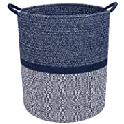 Celebraby - Premium Cotton Rope Basket for Laundry, Blanket, Towel, Nursery, Baby & Kids Toy Bin - Decorative Navy Blue & White Coiled Round Hamper with Handles - 16x13.5  Thick Woven Storage Baskets