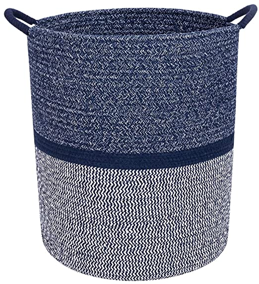 SeparDry - Premium Cotton Rope Basket for Laundry, Blanket, Towel, Nursery, Baby & Kids Toy Bin - Decorative Navy Blue & White Coiled Round Hamper with Handles - 16x13.5