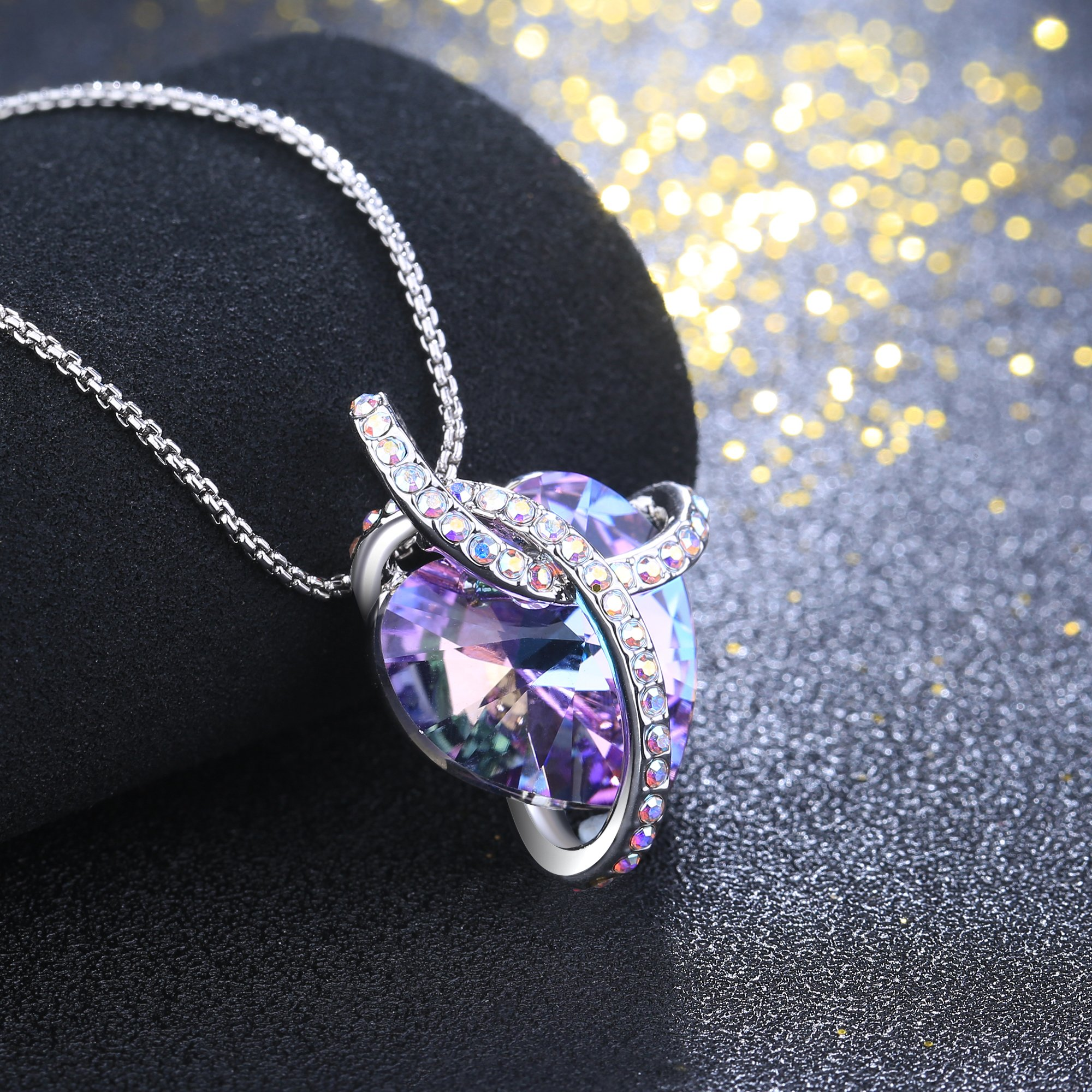 Angelady Gemstone Created Infinity Pendant Necklace Gifts for Women Girls Crystal from Swarovski (1) Wife Present Graduation souvenir