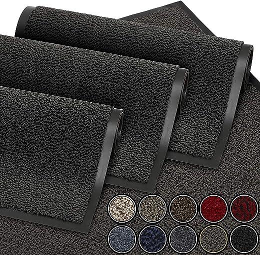 GadHome Fußmatte Schwarz Anthrazit 40×60 cm |Eingangstürmatte wasserdicht waschbar strapazierfähiger Schmutzfänger | Rutschfester…