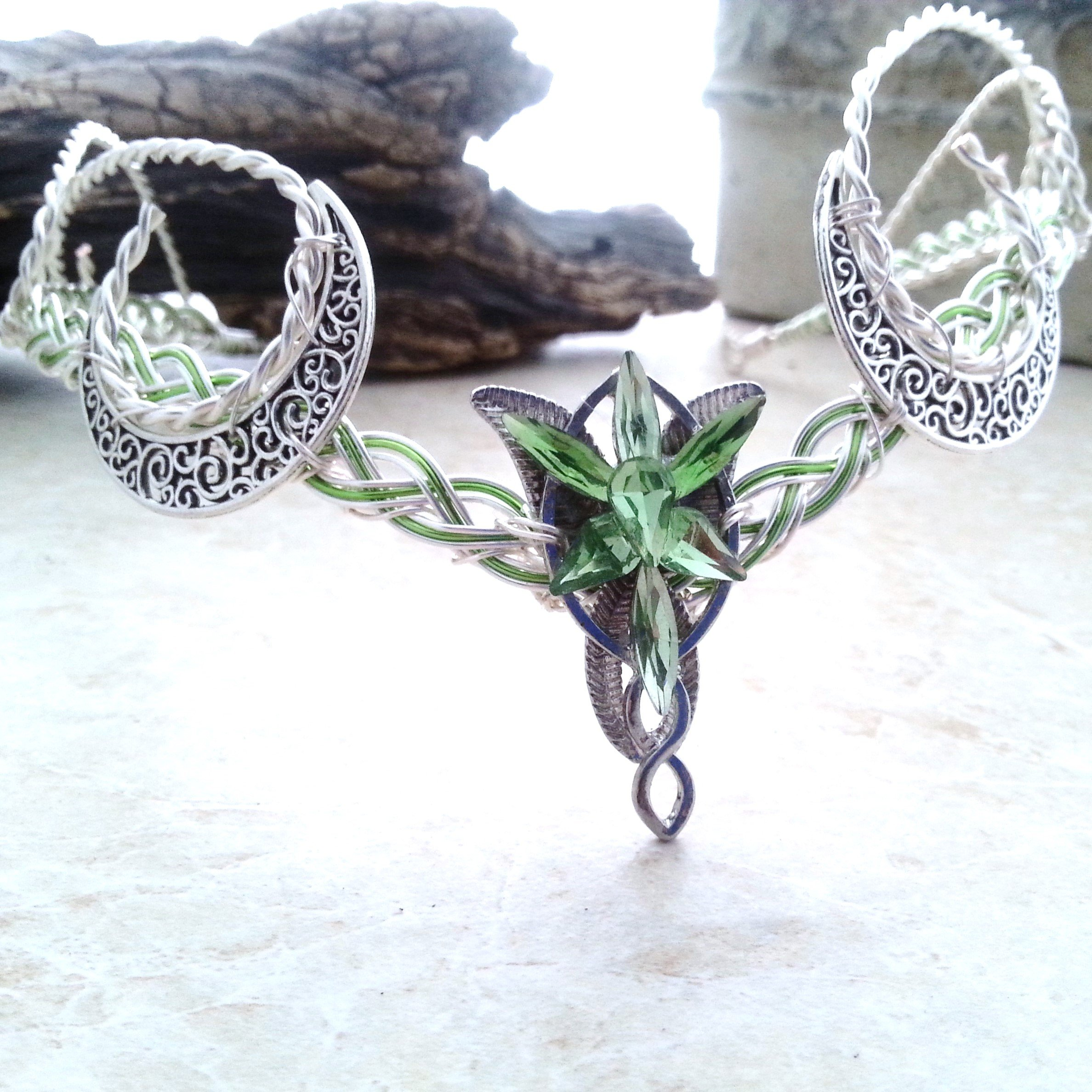 Green Crescent Moon Evenstar Arwen Circlet Headdress